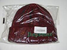 SUPREME New York 2-Tone Rib Beanie RED / BLACK Winter Hat Cap NEW! F/W 2017