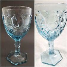 "Vtg Fostoria Light Blue Glassware Moonstone Pattern Water Goblets Stemware 6.5"""