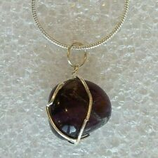 """Genuine Natural Amethyst Caged Gemstone on 18""""/46 cms Silver Plated Necklace"""
