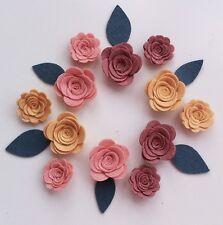 12 Sizzix die cut felt 3d flowers/roses & leaves.Sewing,felt flower garlands,bag