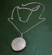 Großes altes 835er Silber FOTO-MEDAILLON floral • lange Silberkette