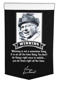 """VINCE LOMBARDI GREEN BAY PACKERS """"WINNING"""" EMBROIDERED WOOL BANNER 15""""X24"""""""
