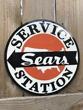 Sears Service Station Gasoline Oil. Gas Mechanic advertising garage sign baked