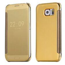 Etui Housse Coque Clear View Cover miroir Doré Gold Samsung  Galaxy J7 2016