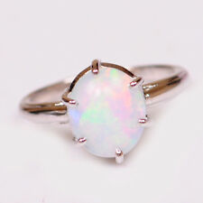 Real 14KT White Gold Oval Shape 1.80 Carat 100% Natural Opal Anniversary Ring
