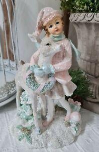 Winterkind mit Reh Deko Figur Christmas Weihnachten Shabby Vintage