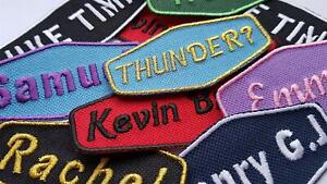 Personalised Retro Style Embroidered Iron On Patches Sew On Jacket Badge Label
