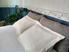 LINEN Oxford PILLOWCASE King Queen Standard sizes White Gray FLAX PILLOW CASE