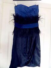 Costa azul de seda vestido sin tirantes con cinturón de plumas de seda/Talla 8 * * En muy buena condición