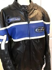 NWOT FIRST RACING LEATHER MOTORCYCLE JACKET THINSULATE BLACK/BLUE SZ M