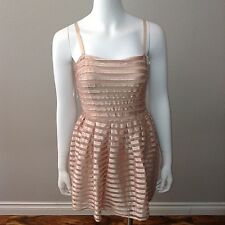 H&M Party Dress Size S Small Pink Spaghetti Strap Sleeveless A Line Tulle Stripe