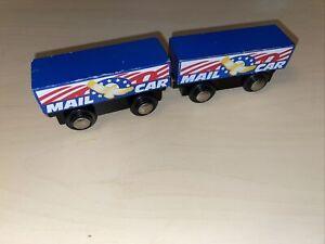 2x Wooden Imaginarium Express Geoffrey Mail Train Cars Thomas Brio Compatible