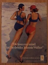 1988 Print Ad Johnnie Walker Whiskey ~ GIRL TALK 'He Loves Her Mind' Beach Jog