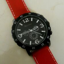 Raynell Mens Watch Oversize Black Bezel Round Black Dial On Red Rubber Band New!