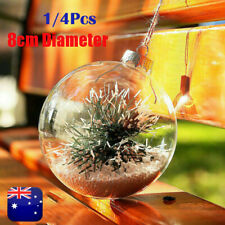 8cm Clear DIY Baubles Shatterproof Seamless Plastic XMAS Ball Party Tree Decor