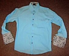 Mens JUST CAVALLI *BLUE* *Made In Italy* Long Sleeve Luxury Dress Shirt Size XL