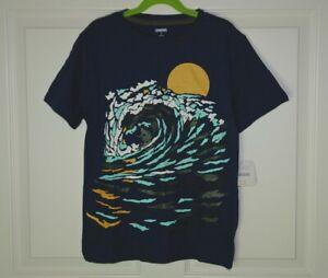NWT Boy's Gymboree Navy Blue Graphic Print Tee Sun Surf Wave Size 8