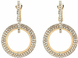 Double Dangle CZ Hoop Earrings Rhinestone Dangle Drop