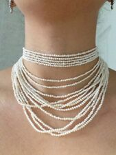 South Sea Pearl Multi-Strand 16 Strands Natural Pearls Necklace 925 Silver