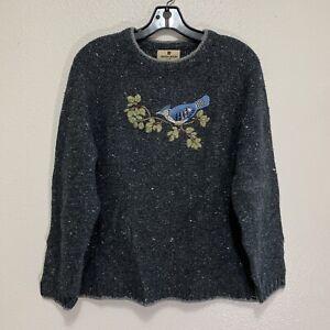 Woolrich Sweater Womens Size Large Gray Salt Pepper Bird Embroidered