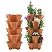"Houseables 5 Tier Planter, Stackable, 28"" H x 12"" W, Polypropylene, Terracotta,"