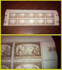 Vaticano 1966 Pochwalony Yezus Chrystus Testata di foglio 10 francobolli NUOVI