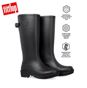 FitFlop WONDERWELLY Tall Ladies Rubber Wellington Boots Black UK Sizes 4 - 8