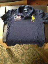 POLO Ralph Lauren SS Navy Boy's cotton shirt Medium with yellow polo player