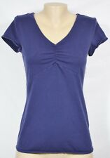 MERONA Blue V Neck Top Medium Cap Sleeves Ruched Bust Cotton Blend Unlined