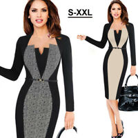 Elegant Women's Business Office Dress Formal Bodycon Sheath Pencil Dresses+ Belt