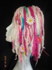 Wool Dreads short hair falls rainbow pink festival flowers kawaii harajuku goth