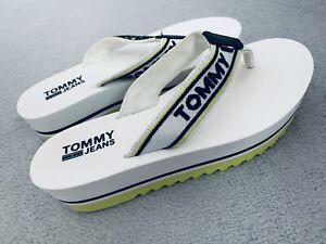 Damenschuhe Sommer Flip Flops Tommy Hilfiger Gr. 37 wriß grün  Badeschuhe