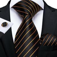 Mens Silk Tie Set Classic Black Gold Striped Necktie Jacquard Woven Business