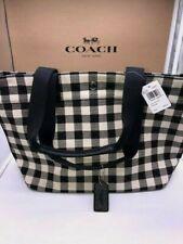 NWTCoach F39848 Gingham Canvas Tote Shoulder Shopper Bag Plaid Black Multi