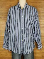 Thomas Dean TD Blue Striped Contrast Cuffs Button Front Shirt Mens Size XL