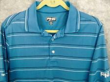 Ping Performance Golf Shirt M 40 Chest Blue Stripe Logo Polo Free Fast Ship