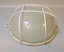 VINTAGE INDUSTRIAL FROSTED GLASS WHITE METAL CEILING LIGHT PROTECTED SHADE 6 INC