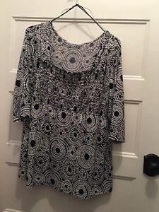 Studio 1940 Womens Knit Geometric Print Boho Chic 18 20 Plus Spring Summer Tunic