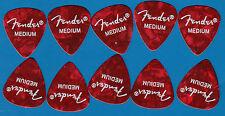 NEW ! - Fender Guitar Picks - Medium - Red -  Pack of 10