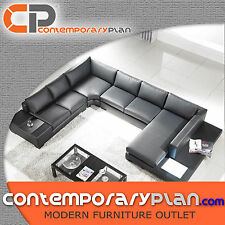 Contemporary Black Leather Sectional Sofa with Built in Light and Table, Modern