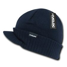 Navy Blue Jeep Visor Knit Army Warm Winter Ski Skull Beanie Beanies Hat Hats