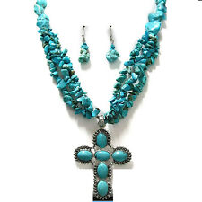 Turquoise  Gemstone Necklace Earring Set Chuky, Silver  Cross 18+2""
