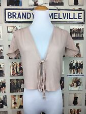 Brandy Melville Blush Pink Ribbed Sheer V Neck Tie Front Leesa top Capped Sleeve