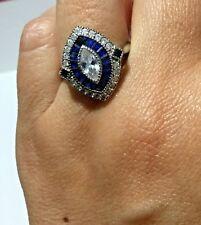 Fashion Ring Lab Created Blue & White Saphire Silver Plated US 8, EU 56