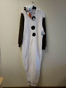 Disney Frozen Olaf Adult Cosplay Costume Plush Pajama Union Suit 1Xlarge N W T