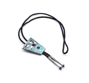 """Sterling Silver Turquoise, Mother of Pearl, and Onyx """"Bennett"""" Bolo tie"""
