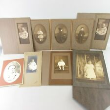 Vintage photo photograph in matte frames lot of 11 Family man wife baby