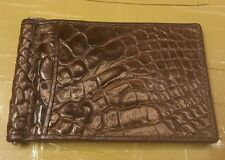 Genuine Crocodile Wallets Skin Leather Bifold Men's Money Clip Wallets Brown