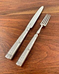 MOSES BRENT GEORGIAN SOLID STERLING SILVER ENGRAVED DINNER FORK & KNIFE 1801