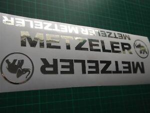 Metzeler Cut Vinyl Decal Sticker x2 CHROME FOIL